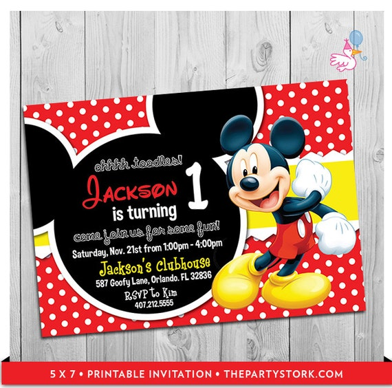 mickey mouse party invitations: printable boy 1st birthday,