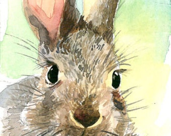 ACEO Limited Edition 8/25- Cute rabbit, Art print of an Original ACEO watercolor, Gift for bird lovers & a housewarming party