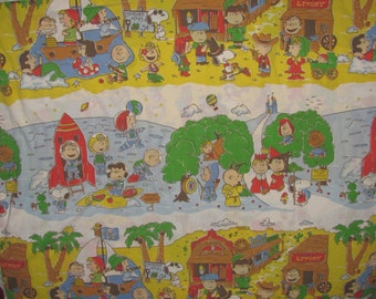 Vintage Snoopy/Peanuts Twin/Standard Flat Sheet - Wild West, Medieval, Pirate, Space Scenes - Charlie Brown, Lucy, Linus - Throughout Time