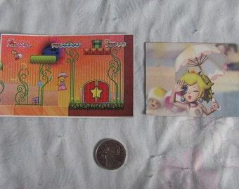 Nintendo Princess Peach Set 2 Magnets - Handmade, Homemade Video Game Fridge Magnet - Peach with Umbrella, Floating