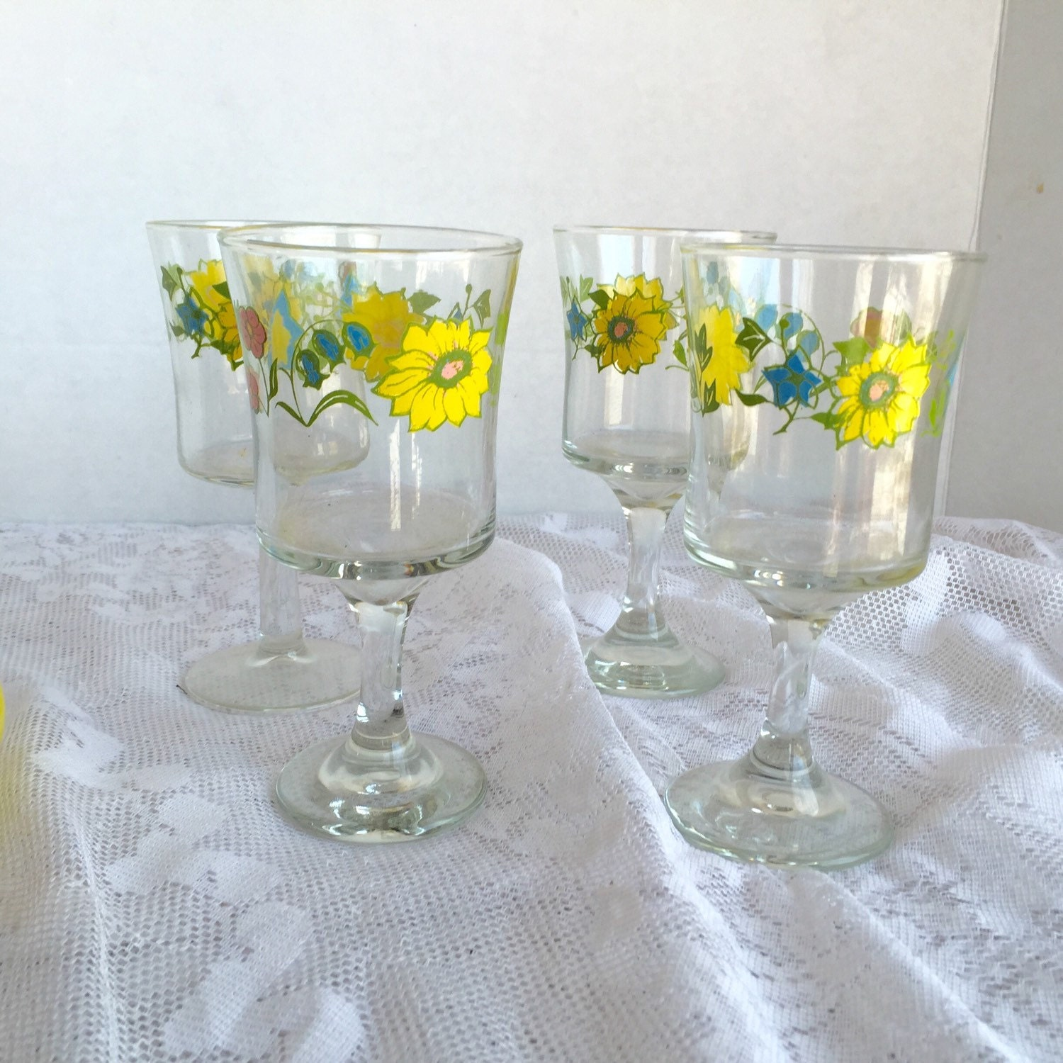Vintage Glassware Floral White Wine Glasses / Yellow and Blue