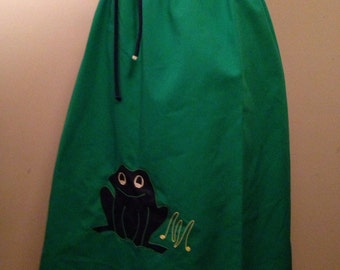 Vintage 70s Green Novelty Frog Skirt