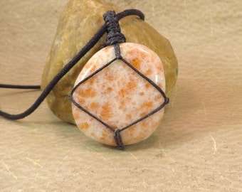 Sunstone (Heliolite) Pendant - Reiki Jewelry - Protection Energy Passion Solar Plexus Chakra Sacral Chakra Energy Jewelry