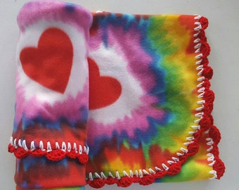 Red Heart Rainbow Tie Dye - Fleece Blanket with Crocheted edge nap cuddle carseat tummy time sleep bed blankie Grateful Dead crib