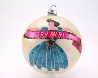 1950s Christmas Ornament Hand Painted Made In Poland Vintage Glass Christmas Ornament Jumbo Sized