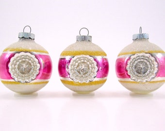 1950s Shiny Brite Striped Indented Christmas Ornaments Vintage Glass Holiday Decorations Pink