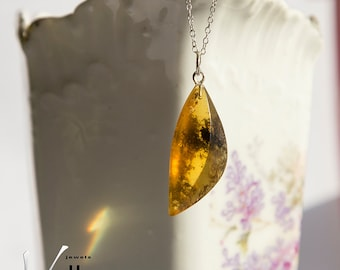 Honey orange natural Baltic amber pendant with inclusions, sterling silver necklace, natural amber, light weight natural pendant stone