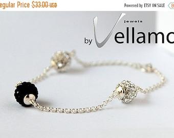 SALE Sterling silver bracelet with Swarovski crystal balls, crystal clear and black, glam, sparkle, rhinestone
