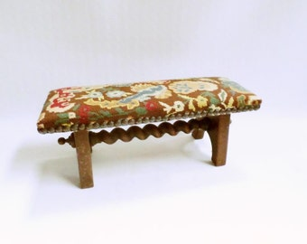 French Antique Louis XIII Renaissance Needlepoint Tapestry Rustic Oak Footstool (V630)