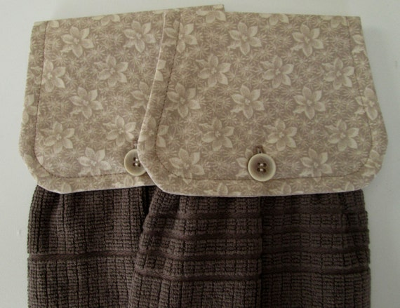 Hanging Kitchen Towel Set Beige Taupe Cream Flowers By