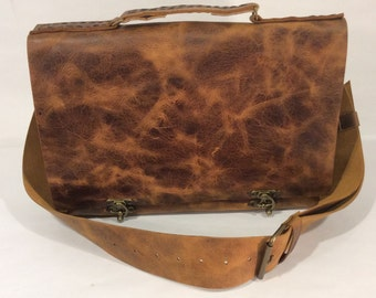 Leather Messenger Bag,Distressed Tan Leather Bag For Men,Handmade Top Handle Work Bag,Custom Leather Bags For Men Women