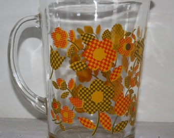 1970's Glass Drink Pitcher Iced Tea Pitcher Flowers Patchwork Flower Design