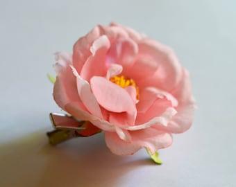 Pink Rose Flower Hair Clip, Brooch, Blossom Hair Clip, Wedding Accessory, Boho Hair Accessory, Pink Rose Brooch