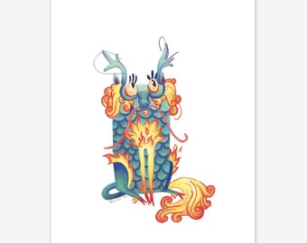 Qilin Mythical Creature Print A5