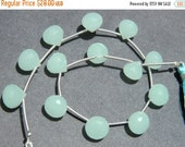 20%off. 13 Pcs--AAA Aqua Blue Chalcedony faceted onion briolette 6 matched pair and a focal pendant