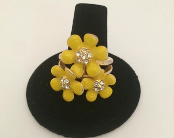 Bright Yellow Enamel Flower Statement Ring