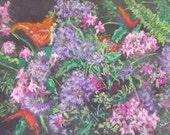Original Floral Butterfly Botanical Garden Bouquet Pastel Art by Niki Hilsabeck