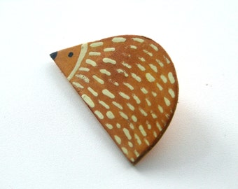 Hedgehog  Leather Brooch,  Recycled Leather Pin, Leather Gift, Eco Pin