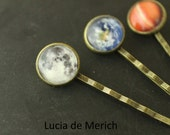 Galaxy Space Pin - Universe Jewelry - Solar System Planet, Nebula, moon or earth hair pin - Space Jewelry, Bridesmaid Gift