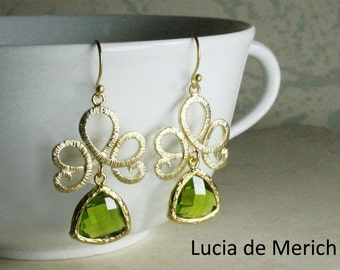 Gold Earrings, Olivine Earrings, Green Wedding, Bridesmaids Jewelry, Floral Earrings, Bridesmaid Earrings