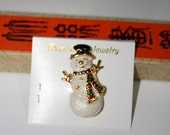Iridescent Gold Tone Snowman Brooch, New Vintage