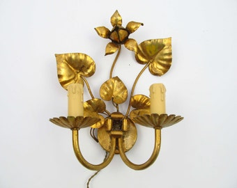 Vintage gold colour tole Italian Hollywood Regency Wall light Sconce