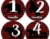 Baby Monthly Milestone Growth Stickers Red Black Buffalo Plaid Bear Rustic Nursery Theme MS899 Baby Shower Gift Baby Photo Props