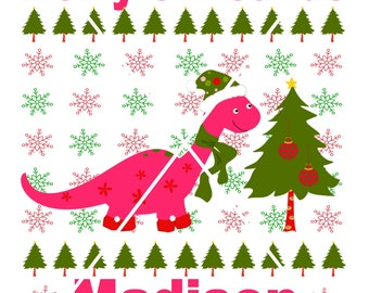 Personalized Dinosaur Christmas T-shirt Bodysuit Kids Children Baby Ugly Christmas Shirt Boy Girl Funny First 1st Christmas Shirts