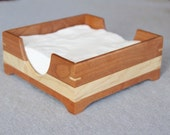 Handmade Wooden Napkin Holder Made out of Solid Cherry and Figured Maple - Free Shipping