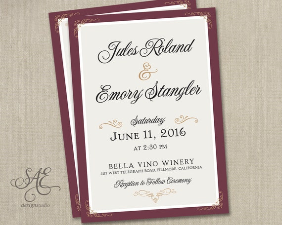 Burgundy And Gold Wedding Invitations: Items Similar To Wedding Invitations Burgundy Blush Gold