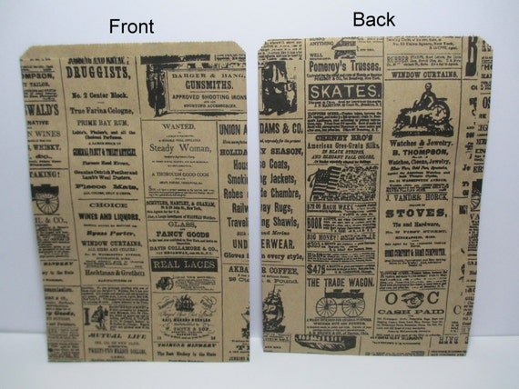 100 Newsprint Kraft 6x9 Paper Gift Bags, Merchandise Bags, Favor Bags, Weddings, Showers, Birthdays, Treats