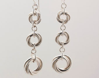 Sterling Silver Triple Möbius Loop Earrings