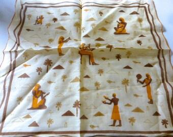 Vintage Designer Egyptian Themed Faith Austin Kimball Cotton Hanky NWT