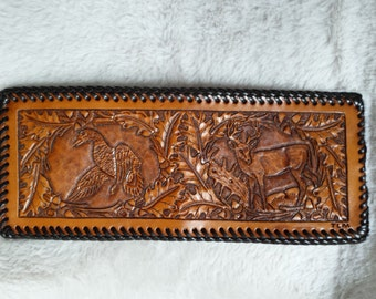 Leather Wallet, Hand Tooled in Duck and Deer Oak Leaf Scene