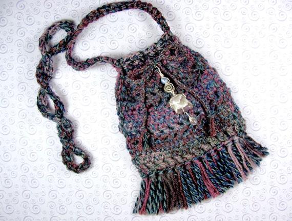 Crochet Medicine Bag Pattern : Small Handmade Crochet Pouch/Purse/Medicine Bag/Talisman with