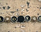 """Valentine's Day """"LOVE"""" Steampunk Bracelet Victorian TYPEWRITER Key Vintage Black Buttons INDUSTRIAL"""
