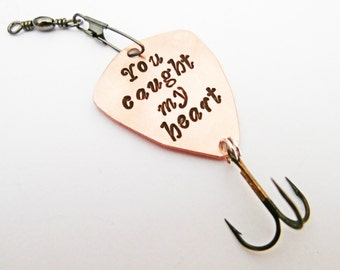 You Caught My Heart Fishing Lure, Personalized Mens Gift, Unique Wedding Day Gift Fiancé Fishing Gift, Groom Gift, Custom Fisherman Gift