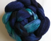 Teal and Blue 4oz Handpainted SW Merino Spinning Fiber