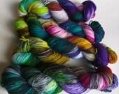 Chaotic Rainbow on Max 80/20 SW Merino Nylon Hand dyed fingering weight sock yarn