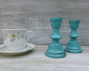 Decorative Distressed Candlesticks Painted Turquoise