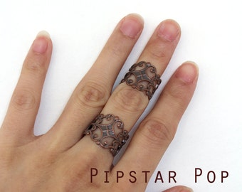 Bronze floral filigree Filigree adjustable rings (3 color option) Armor ring Midi band Steampunk cosplay,elven wedding,larp jewelry