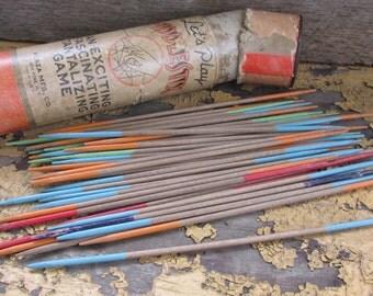 Vintage Fiddlesticks Pick up Sticks game,  Wooden toys