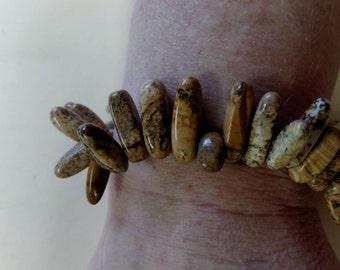 Beautiful Picture Jasper Gemstone Bracelet Handmade New Stretchy