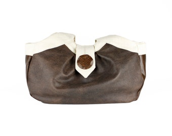 "Brown Distressed Leather Hobo Handbag, Large Shoulder Bag, Birdbags ""Puffin"" Purse"
