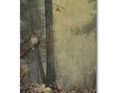 Magic forest art print on wood, owl, unicorn, trees, enchanted forest, wood print, art on wood, owl art print