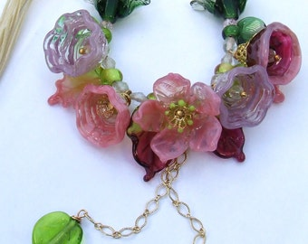 Romantic Lampwork Spring Floral Necklace,  Pink Bouquet, Festive Glass Necklace, delicate Floral Necklace Unique Gift, Ready to ship
