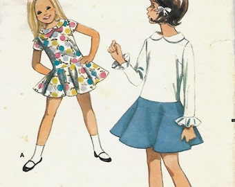 VTG Butterick 4288 Girls One-Piece dress With Full Flared Skirt Pattern, Size 4