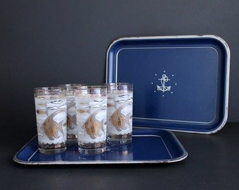 Vintage Tin Serving Tray Set Navy Blue With Nautical Anchor and Star Design Set Of 2