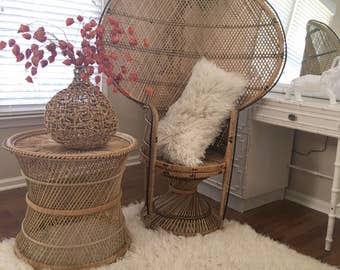 Vintage Peacock Fan Chair Chinoiserie High Back Eclectic Natural Wicker Rattan Mid Century Modern Bohemian Retro