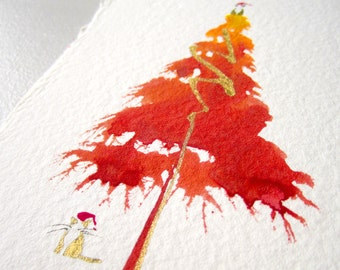 Hand-Painted Watercolor Greeting Card.  Cats and a Christmas Tree. One of a Kind Watercolor. Great Christmas Gift.